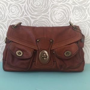 COACH Satchel Bag Brown Leather Gold Hardware